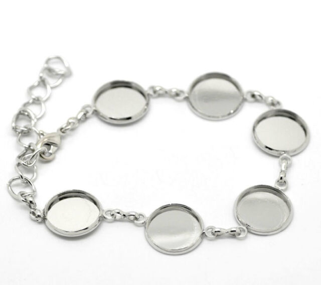 10PCs Silver Tone Round Cabochon Setting Disk Bracelets 19cm B20827