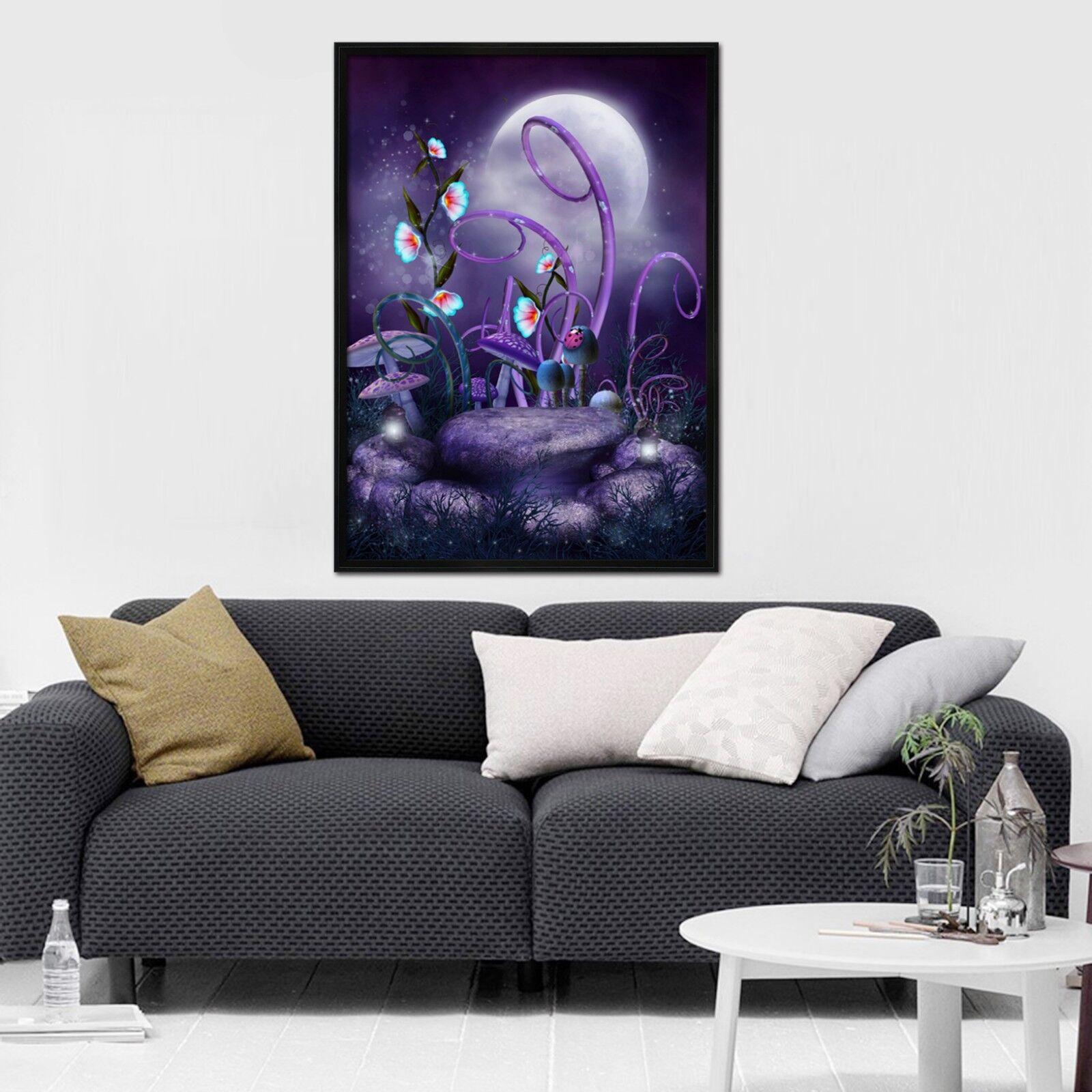 3D Lila Mond Wald  3 Gerahmt Poster Daheim Dekor Drucken Malerei Kunst AJ DE
