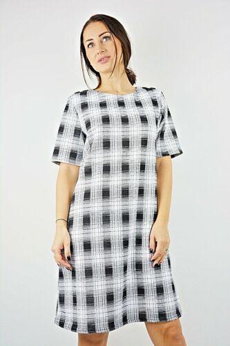 Nueva camiseta para mujer ex Branded cuadros blanco y negro con textura de botón Shift Vestido Talla 10-18