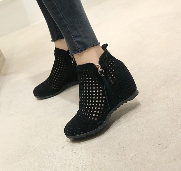 Womens Ankle Sandals Boots Breathable Hidden Wedge Heels Hollow Out shoes D677