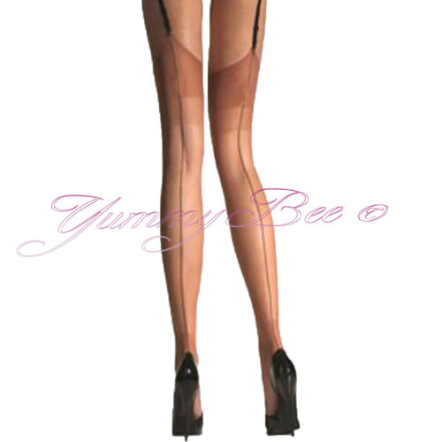 Yummy Bee Stockings Suspender Women Hold Up Sheer Fishnet XL Seam Plus Size Lace