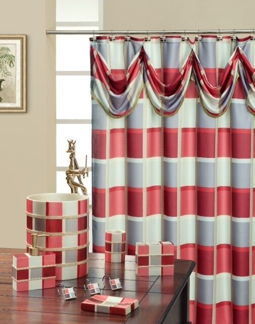 Madison Burgundy High Quality Scarf Shower Curtain Made With 100 Polyester B8f5c6