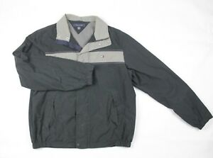 266e5a89af136 Tommy Hilfiger Men's Medium Black Zip Up Horizontal Striped Collared ...
