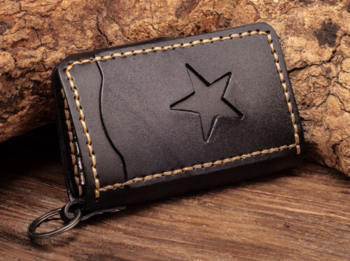 C76 Black Mens Punk Star Genuine Leather Card Holder Keychain Key Case For Women