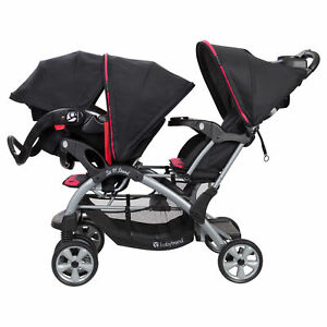 Baby Trend Sit N Stand Double Stroller With One Infant Car Seat