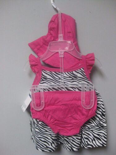 Panties /& Cap BABY SHOWER GIFT Gerber Girls 3-Piece Black//Pink Zebra Set; Dress