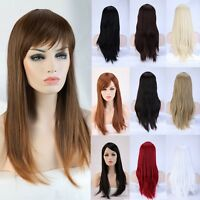 【us】 Women's 23'' Long Straight Full Bang Wig Synthetic Wigs Heat Resistant Hair
