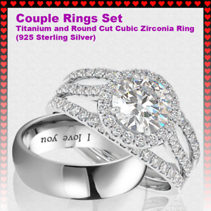 24871cd624 Couple Rings Set - Titanium and 925 Sterling Silver Round Cut Cubic ...