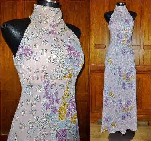 Vtg 70s Silky Jersey Knit FLORAL Print Key Hole Hippie Boho Wedding Maxi DRESS