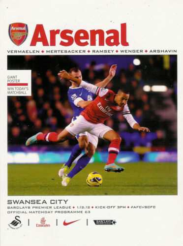 Arsenal v Swansea City 1 Dec 2012 FOOTBALL PROGRAMME