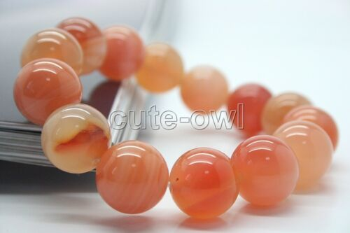 12 Mm Véritable Naturel Agate Bracelet Round Bead Stretch Bracelet AAA