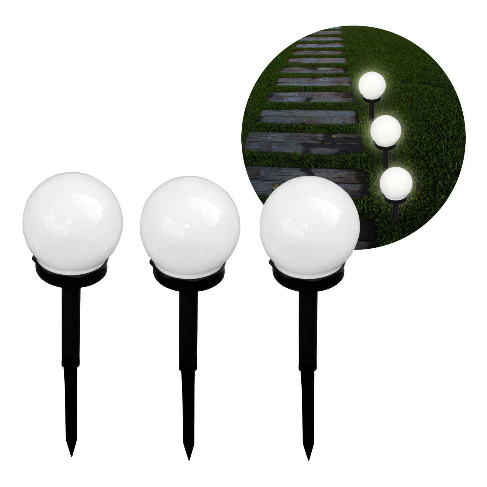 3er-set LED a luce solare lampada da giardino esterno SFERA ILLUMINAZIONE CREPUSCOLARE NOTTE