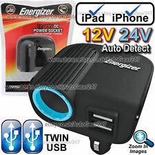 Energizer 12v 24v DC Accendisigari Adattatore Multi Presa Doppio USB CHARGER - 500