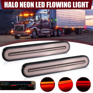 2x-Halo-LED-Stop-Flowing-Turn-Signal-Indicator-Tail-Light-Caravan-Truck-Trailer