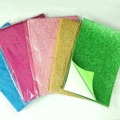 10*Adhesive Glitter Scrapbooking Paper Vinyl Sticker Art Sheets DIY Craft 8x12/'/'