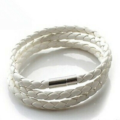 Fashion Womens& Mens Black Leather Interlaced Cuff Bangle Wristband Bracelet