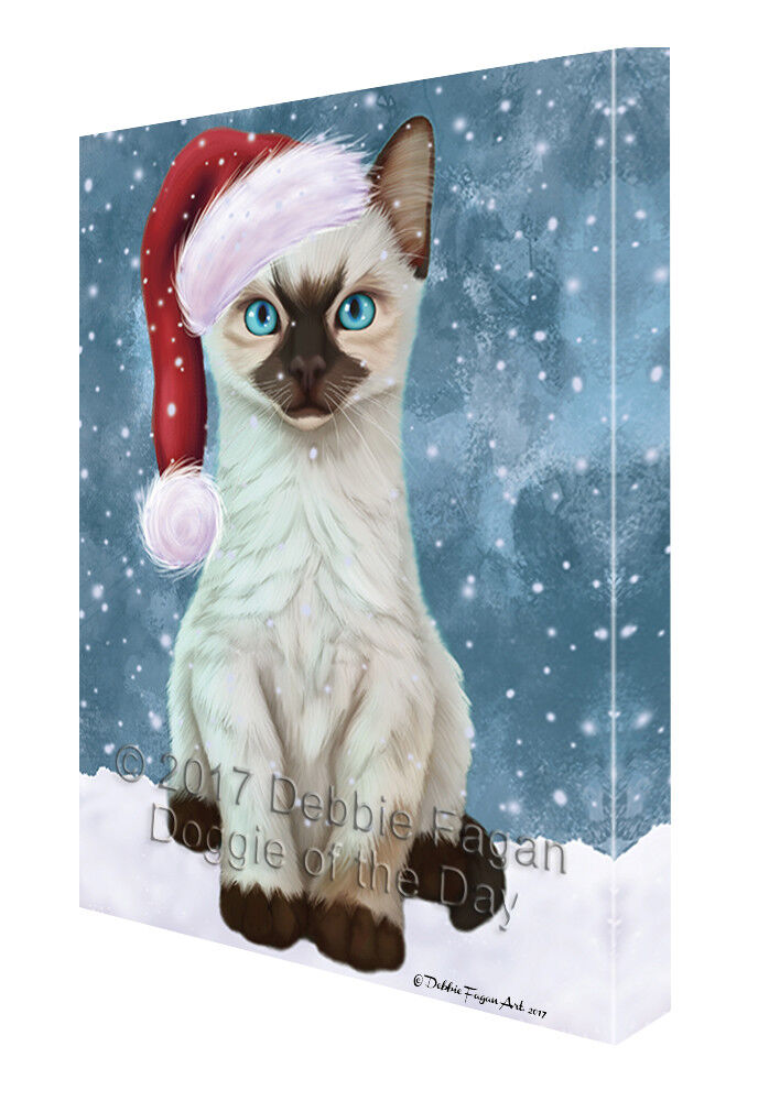 Let it Snow Christmas Holiday Siamese Kitten Cat Canvas Wall Art T74