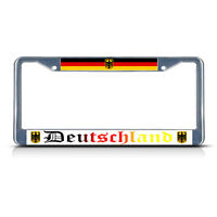 Deutschland, With German Flag With Seal Metal Chrome License Plate Frame Tag