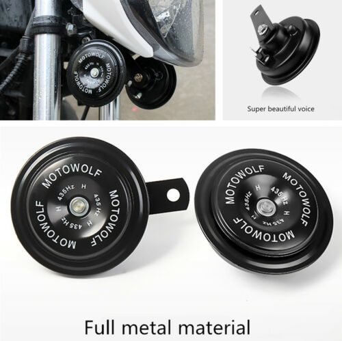 2x Motorcycle Waterproof Loud Tone Snail Horn Speaker 435HZ Stable Mount Bracket
