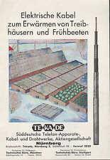 NÜRNBERG, Werbung 1931, TEKADE Süddeutsche Telefon-Kabel-Metall-Draht-Werke AG