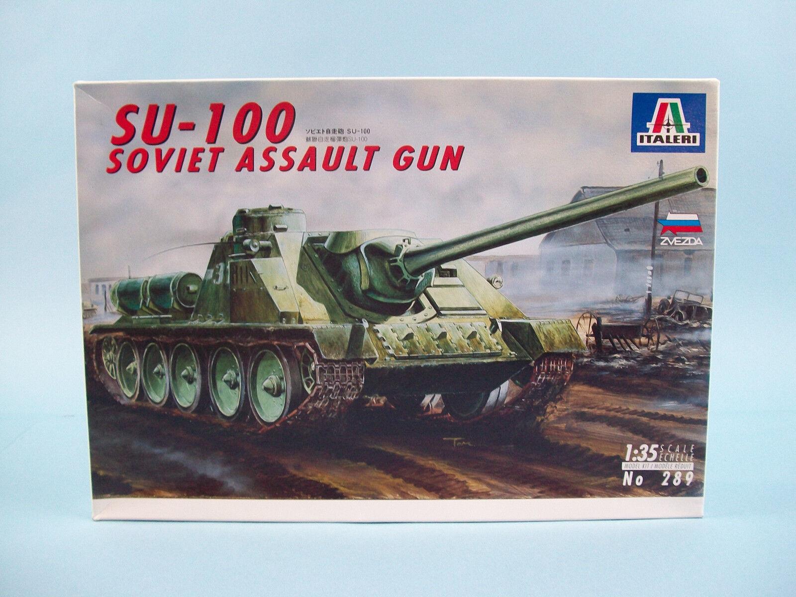 Soviet Assault Gun SU-100 Italeri Model Kit Vintage