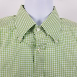 Lacoste-Men-039-s-Green-White-Check-L-S-Dress-Button-Shirt-Sz-44