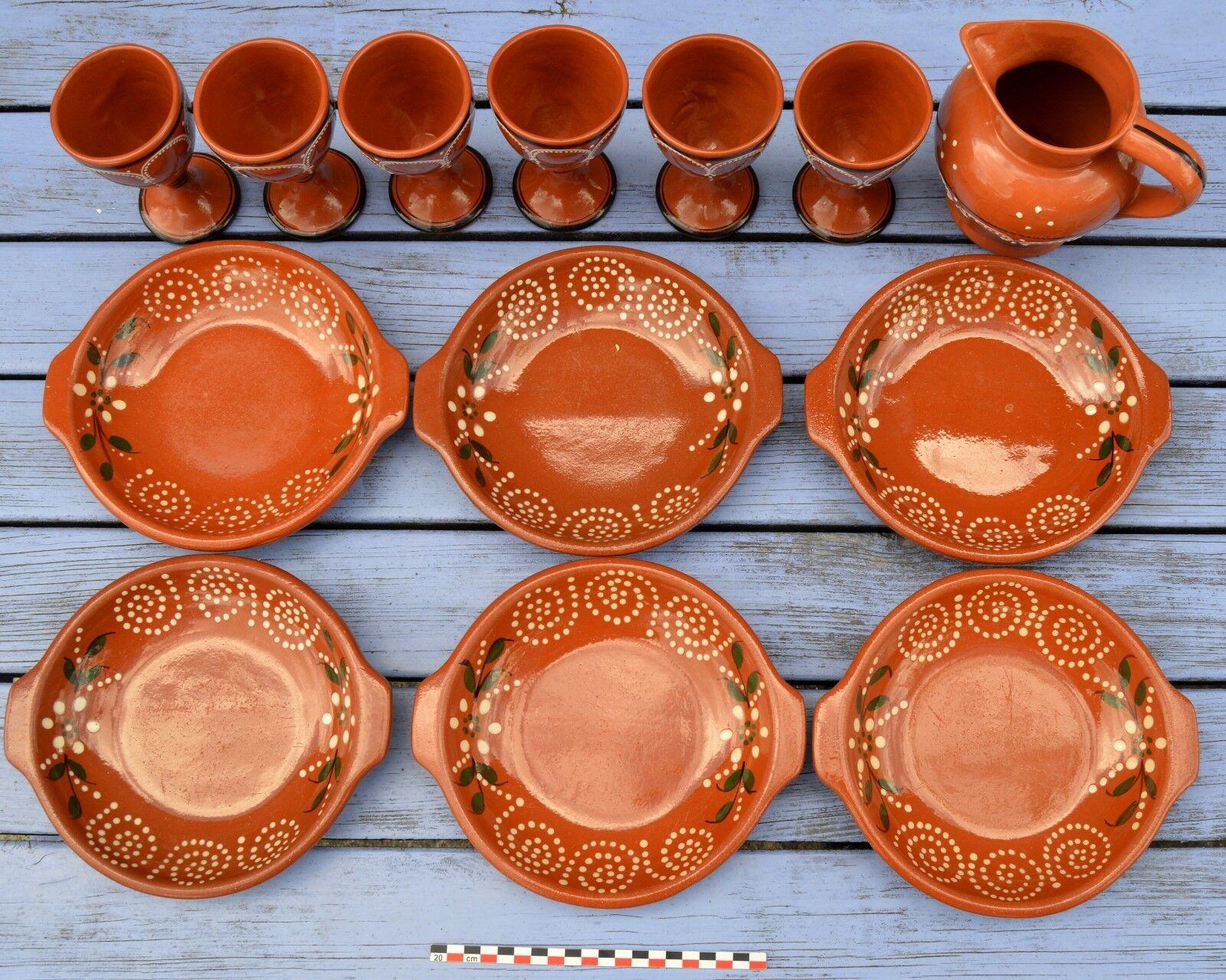 Superbe service complet de vaisselle portugaise, 6 assiettes, 6 verres, 1 pichet