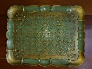 Florentine-Serving-Tray-Gilt-Gold-Made-In-Italy-Green-Platter-MCM-Italian-Ornate