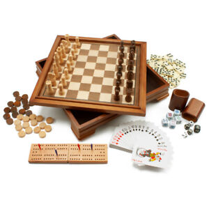 Details about 7-in-1 Chess/Checkers/Backgammon/Cribbage/Dominoes/Cards  Board Game Combo Set
