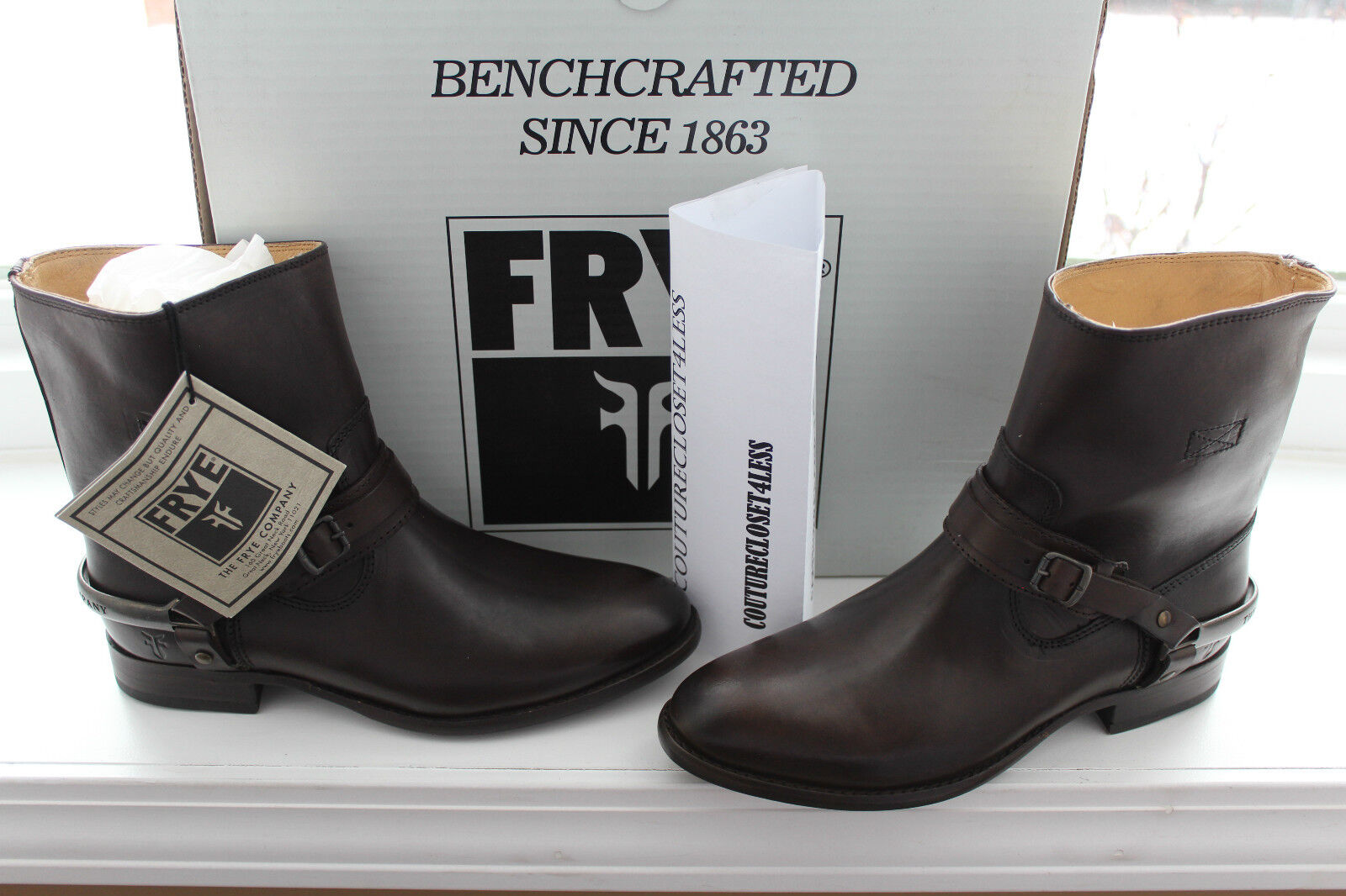FRYE LINDSAY LINDSAY LINDSAY SPUR SHORT DARK BROWN SMOOTH FULL GRAIN LEATHER  7.5us  342 dc1052