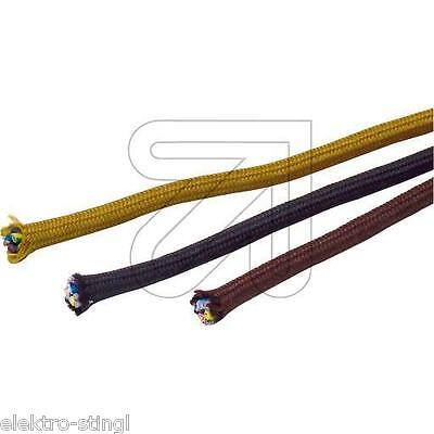 gold oder braun Kabel Textil H03RT-H 3x0,75 mm² für antike Leuchten in schwarz