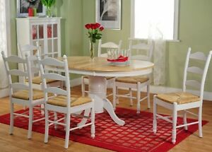 7 Pc White Natural Oval Dining Room Set Wood Furniture
