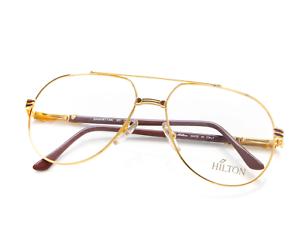 Vintage-Hilton-Manhattan-201-3-Gold-Pilot-Eyeglasses-Optical-Frame-Lunettes-RX