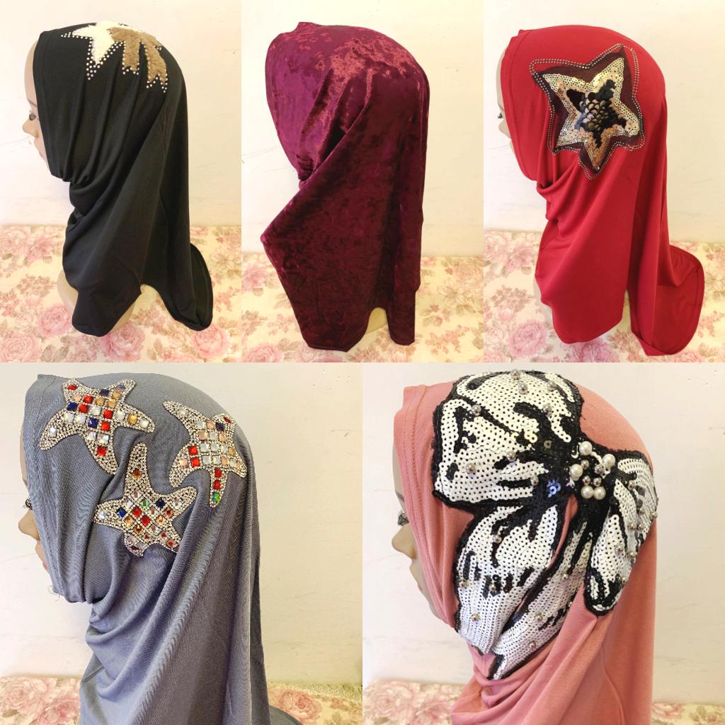 Fashion Women Muslim Islamic Arab Cap Hat Print Flower Embroidery Hijab Turban