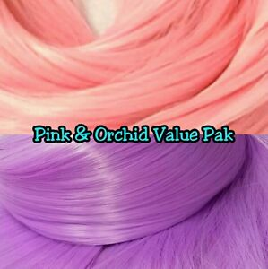 Orchid Purple /& Coral Pink XL 2 Color Value Pak Nylon Doll Hair Reroot Barbie
