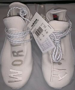 newest dbe45 91931 Details about Authentic US 6.5 Adidas Pharrell HU Human Race Holi Blank  Canvas Cream White