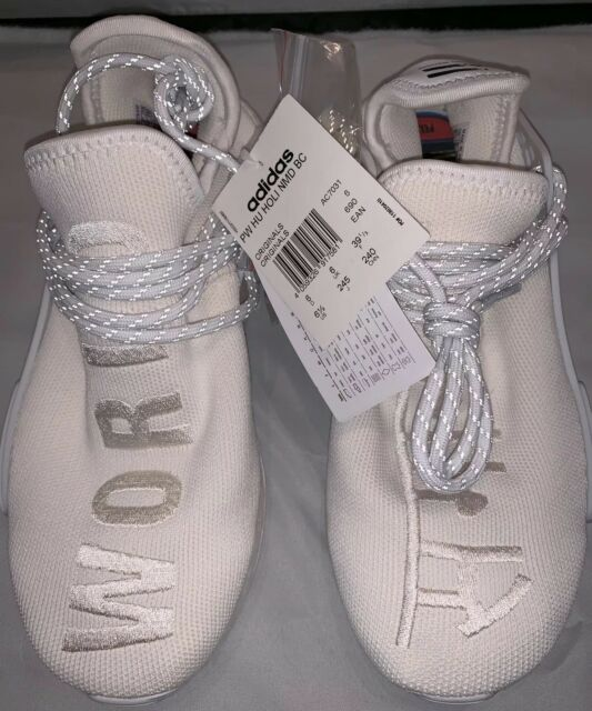 online store 238c6 7768f Authentic US 6.5 Adidas Pharrell HU Human Race Holi Blank Canvas Cream White