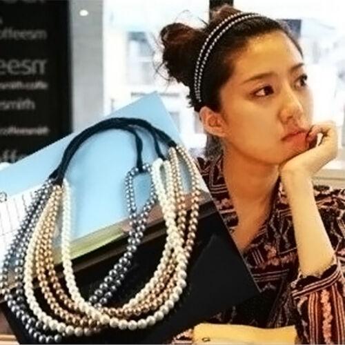 Haarkette Perlen Haarband Stirnband Zopfgummi Haarschmuck Kopfschmuck Fashion