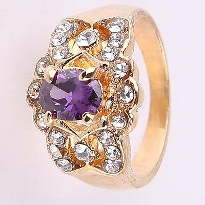 Size 8.5 HOT Fashion Jewelry Women Lady 18K Gold Plated Crystal Gift Ring