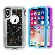 For Apple iPhone XS X Glitter Liquid Defender Clear Bling Quicksand Case Cover