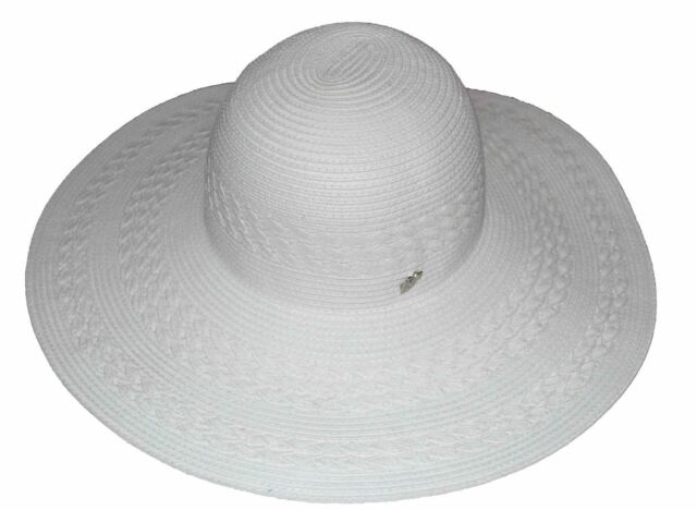 0085a0cac55 MG Women s Straw Summer Floppy Hat White