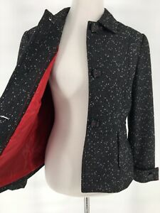 Mary-McFadden-Collection-Blazer-Jacket-Size-10-Black-White-Red-Lined-Wool-Blend