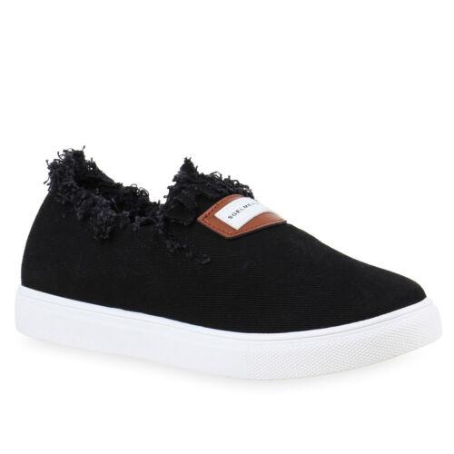 Damen Denim Slip-ons Fransen Used Look Slipper Sneakers 811853 Trendy Neu
