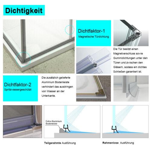 Dusche 90x75 Eckeinstieg Nano Glas Duschtrennwand Scharniertür Duschkabine 185cm