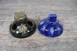 Two-Antique-Royal-Doulton-Art-Nouveau-Cobalt-Blue-amp-Green-Ashtray-Match-Holder