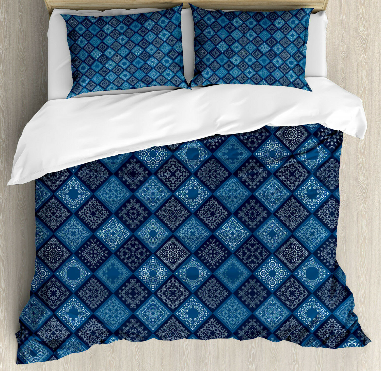bluee Duvet Cover Set with Pillow Shams Ethnic Detailed Squares Print