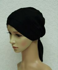 Chemo hats & caps, black tichel, head snood, surgical cap, chemo head wear