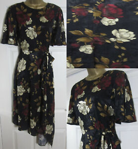 NEW-F-amp-F-Ladies-Floral-Print-Tea-Dress-Asymmetrical-Hem-Black-Gold-Burgundy-6-18