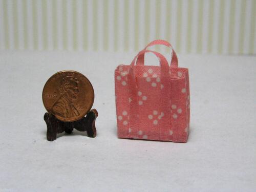 Pink w// White Dots Miniature Dollhouse Cloth Shopping Bag