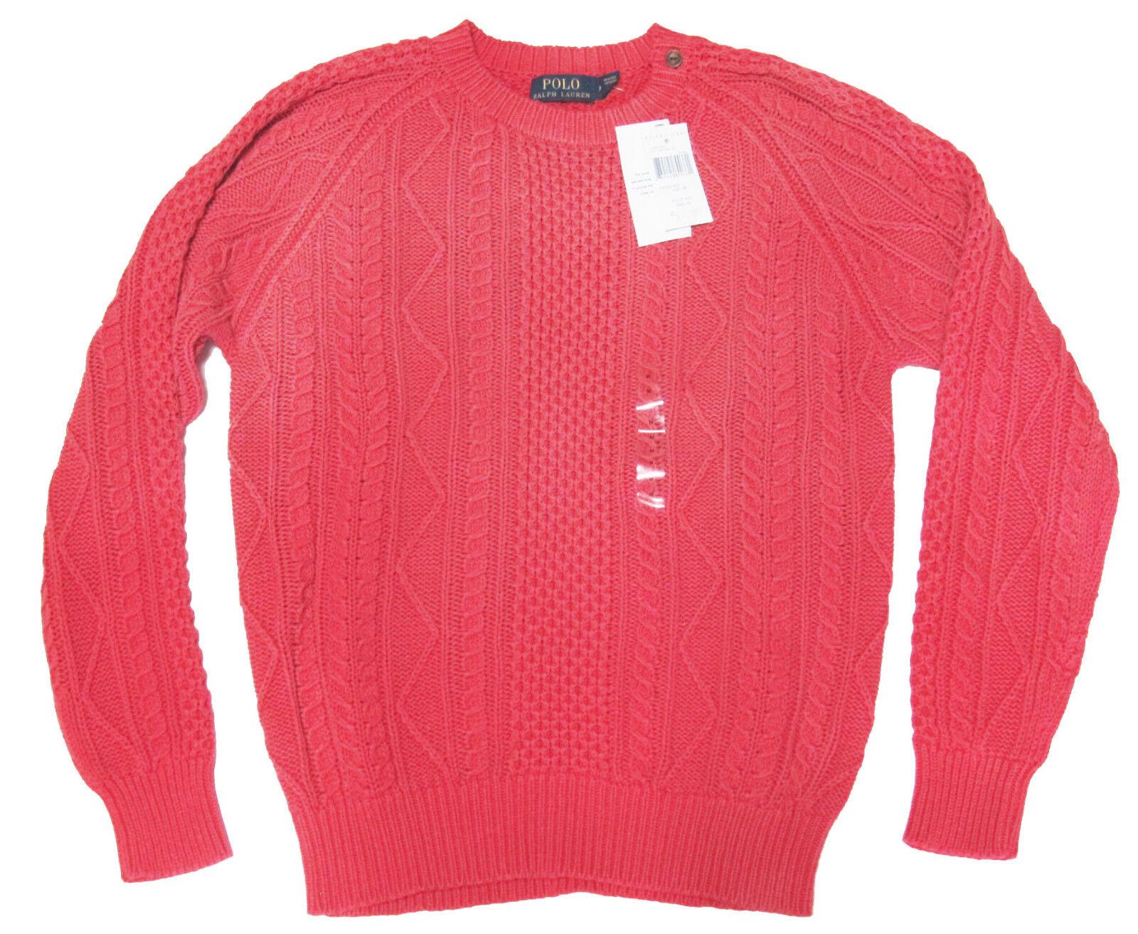 265 Polo Ralph Lauren  Herren Sun Faded ROT Cable Knit Seafarer Sailing Sweater